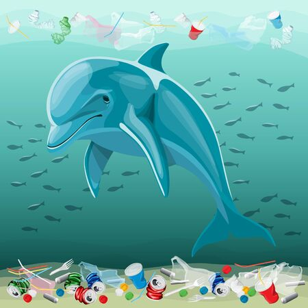 Vector Environment Pollution Illustration Of Dolphin. Ocean pollution. Ocean With Plastic Garbage And Dolphin Banco de Imagens - 131894564