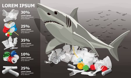 Vector Environment Pollution Illustration Of White Shark Info Chart Or Infographics. Ocean pollution. Ocean With Plastic Garbage And White Shark