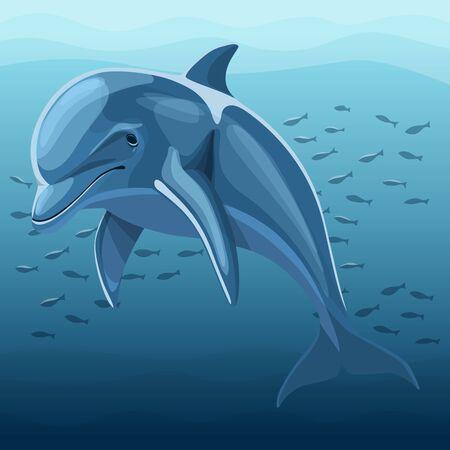 Vector Illustration Of Dolphin. Beautiful Dolphin In Deep Blue Ocean Иллюстрация