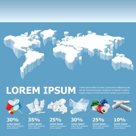 Tableau d'informations vectorielles ou infographies avec carte du monde des icebergs. Signe de recyclage. Image conceptuelle de déchets de recyclage différents