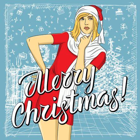 Mujer de vector esperando la Navidad. Mujer en ropa de Santa y letras feliz Navidad