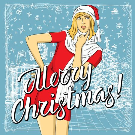 Vector woman waiting for Christmas. Woman in Santa wear and lettering merry Christmas
