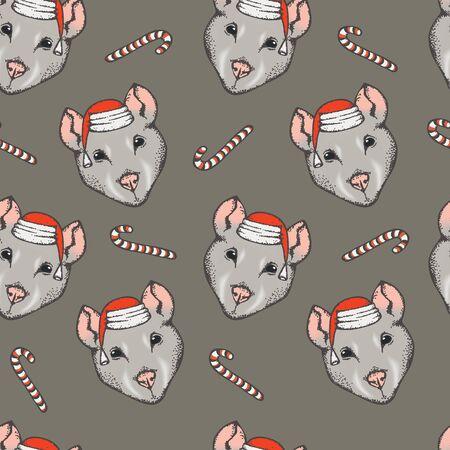 Christmas Rat vector illustration. Seamless pattern with rat head 일러스트