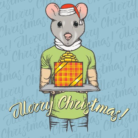 Christmas Rat vector illustration. Rat or Mouse head on human body and lettering merry Christmas