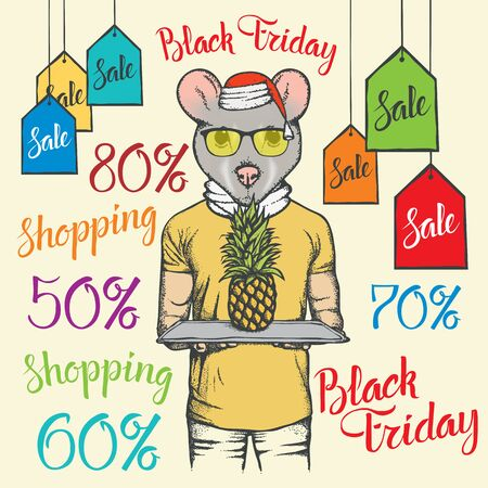 Black Friday Sale Vector Concept. Illustration of Pig in human suit holding pineapple on black friday sale Illustration