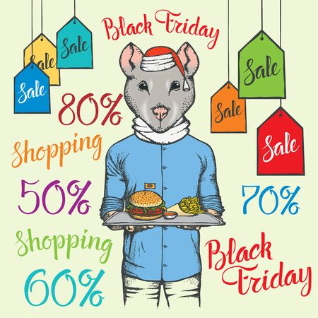 Black Friday Sale Vector Concept. Illustration of Pig in human suit holding burger and fry potatoon black friday sale