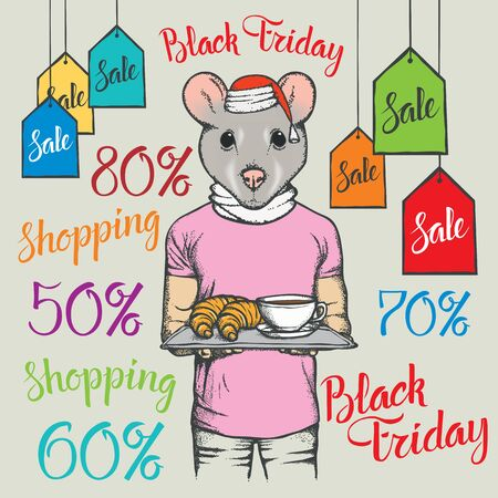 Black Friday Sale Vector Concept. Illustration of Pig in human suit holding Coffe and Ð¡roissant on black friday sale