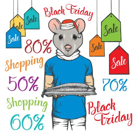 Black Friday Sale Vector Concept. Illustration of Pig in human suit holding fish salmonon black friday sale