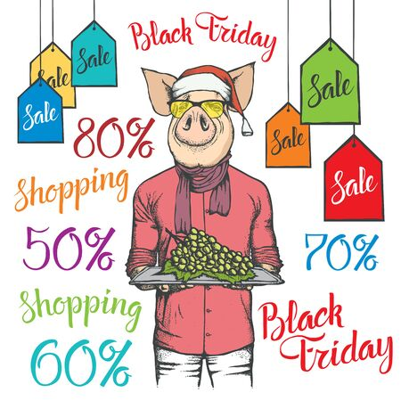 Black Friday Sale Vector Concept. Illustration of Pig in human suit holding grape on black friday sale Ilustracja