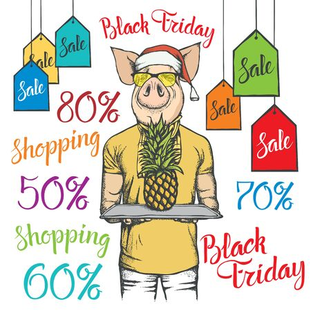 Black Friday Sale Vector Concept. Illustration of Pig in human suit holding pineapple on black friday sale Ilustracja