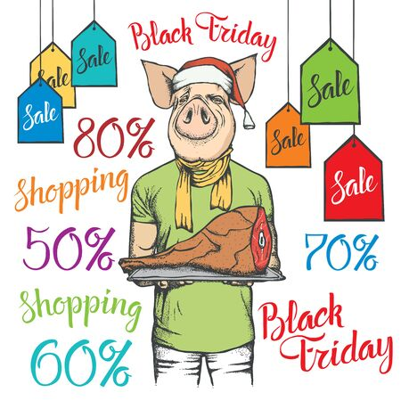 Black Friday Sale Vector Concept. Illustration of Pig in human suit holding Pork Meat on black friday sale