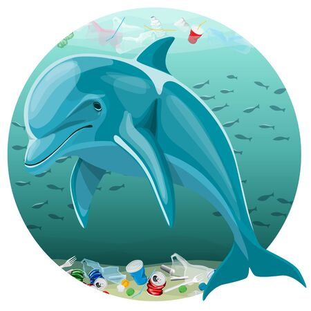 Vector Environment Pollution Illustration Of Dolphin. Ocean pollution. Ocean With Plastic Garbage And Dolphin Ilustração