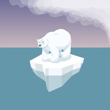 Vector Flat Isometric Environment Pollution And Global Warming Illustration. Melting Iceberg And White Bear With Plastic Garbage In The Water. Conceptual Image Of Melting Glacier With Polar Bear And Plastic Garbage