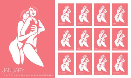 Vector Erotic Calendar 2020. Annual Wall Calendar Layout. Sexy Woman Illustration. Calendar Template For 2020. Set of Pictures Ilustrace