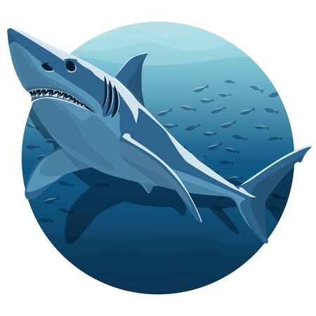 Vector Illustration Of White Shark. Great White Shark In Deep Blue Ocean 向量圖像