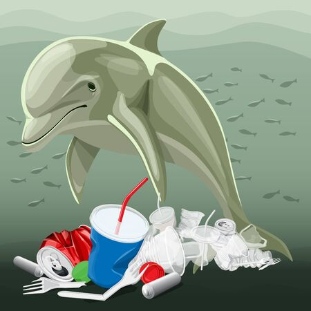 Vector Environment Pollution Illustration Of Dolphin. Ocean pollution. Ocean With Plastic Garbage And Dolphin Illustration