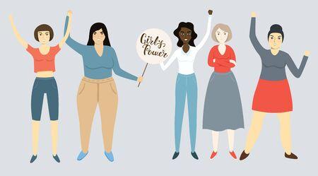 Illustration vectorielle moderne des femmes féministes. Avec Lettrage Girls Power. Droits des femmes, Droits humains, Féminisme, Pas de violence, Égalité des femmes