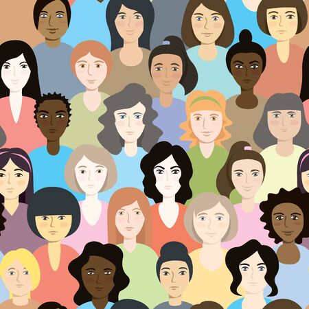 Modern Vector Illustration Of Feminist Women. Vector Seamless Pattern Ilustração