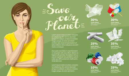 Vector Info Chart Or Infographics. Conceptual Image Of Different Recycling Garbage. Woman in Dress And Inscription Save Our Planet