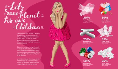 Vector Info Chart Or Infographics. Conceptual Image Of Different Recycling Garbage. Woman in Dress And Inscription Lets Save Planet For Our Children