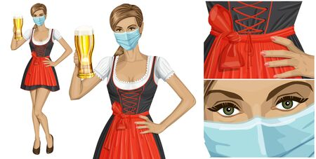 Coronavirus vector concept. Woman with mask on her face. Vector cute woman in drindl on oktoberfest with beer