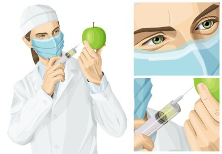 Coronavirus vector concept. Woman with mask on her face. Vector scientist woman does gmo injection to an apple