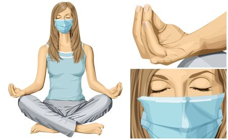Coronavirus vector concept. Woman with mask on her face. Vector woman meditating in lotus pose