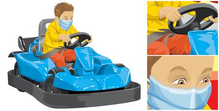 Coronavirus vector concept. Boy with mask on his face. Vector illustration of boy driving go kart so happy about it Çizim