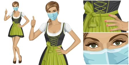 Coronavirus vector concept. Woman with mask on her face. Vector cute woman in drindl on oktoberfest shows well done Vettoriali