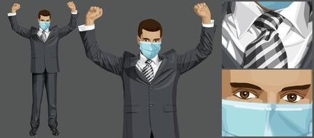 Coronavirus vector concept. Man with mask on his face. Vector happy businessman with hands up, celebrating his victory Çizim