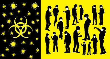 Coronavirus vector concept. Children with masks on their faces.Vector silhouettes of kids and children. Kids have fun