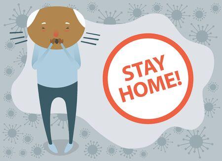Sick Old Man Feels Himself Really Bad. Coronavirus Vector Quarantine Concept. Please Stay Home Illustration