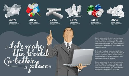 Vector Info Chart Or Infographics. Conceptual Image Of Different Recycling Garbage. Man With Laptop And Inscription Lets Make The World A Better Place