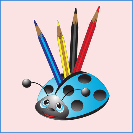 provexemplar: Ladybug with pencils. Support. Vector illustration.