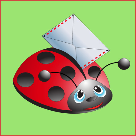 message vector: Ladybug with the letter. Message. Vector illustration.