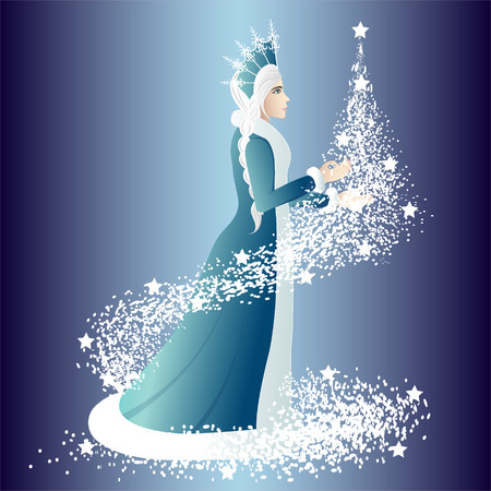 kısrak: Christmas night the Snow Maiden with a fir-tree. Vector illustration.