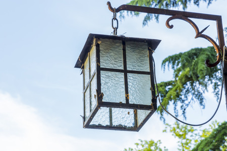 old styled: An old styled, electric lantern light. Stock Photo