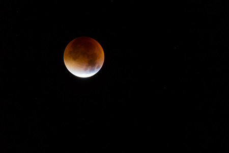moon eclipse: Supermoon and blood moon eclipse coincide on 28th September 2015. Stock Photo