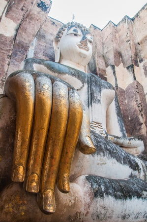 chum: Phra Atchana, the big image of Buddha, in Sri Chum temple, the Sukhothai Historic Park, Thailand  Stock Photo
