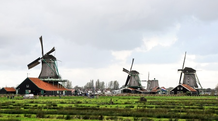 zaan: Group of historic old windmills ,Zaan Schan, Netherlands