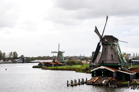 Historic old windmills ,Zaan Schan, Netherlands photo