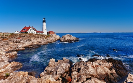 maine: Portland Head Lighthouse in Cape Elizabeth, Maine Stock Photo