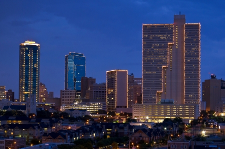 Cityscape of Fort Worth, Texas at night photo