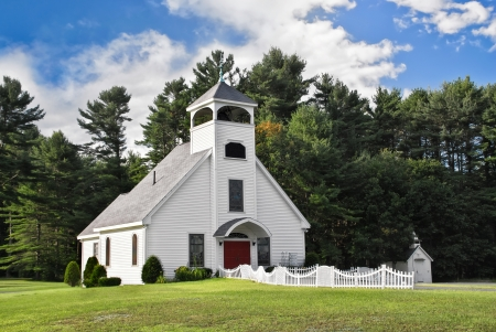country church: White chapel in New England