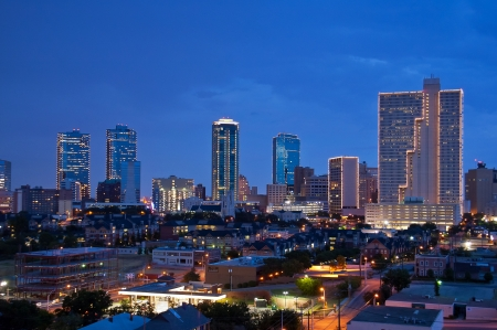 Skyline of Fort Worth Texas at night Stock Photo