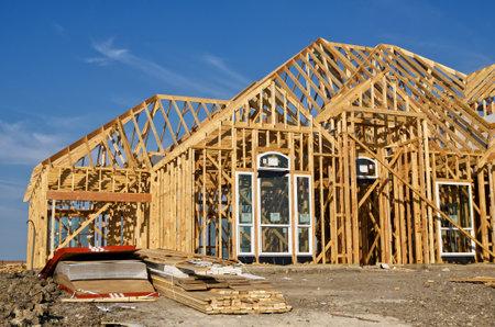 New home construction framing 에디토리얼