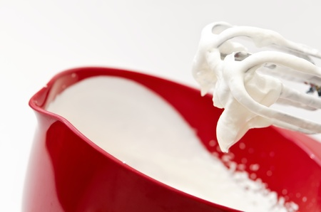 Closeup of whipped cream in red bowl Stock Photo - 14894422