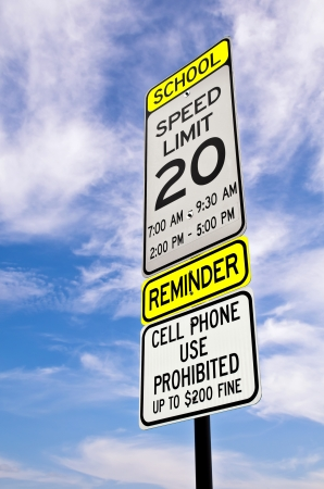 School zone reminder sign Stock Photo - 14972227