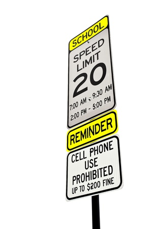 School zone reminder sign isolated over white Stock Photo - 15039862