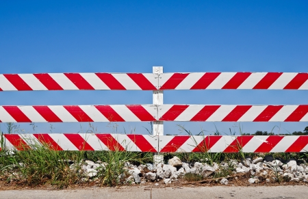 barrier: Road barrier at a construction or road work site